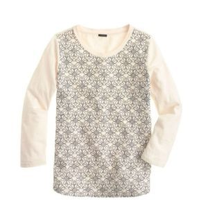 J.Crew Embroidered Floral 3/4 Sleeve Tee Cream S